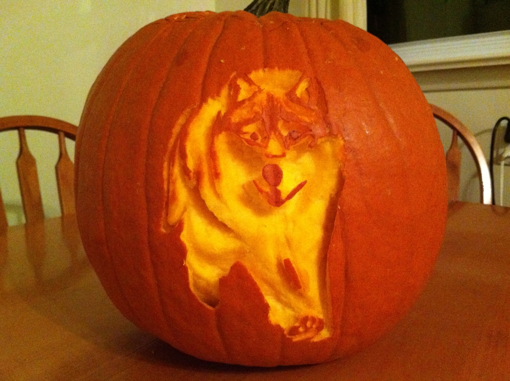 Pumpkin carving: wolf