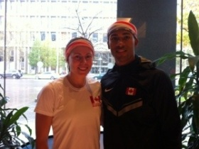Damian and I at the United Way StairClimb 2012, One London Place