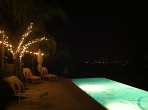 The pool deck at night
