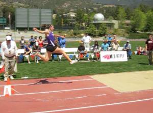 Long jump in the Sam Adams Heptathlon