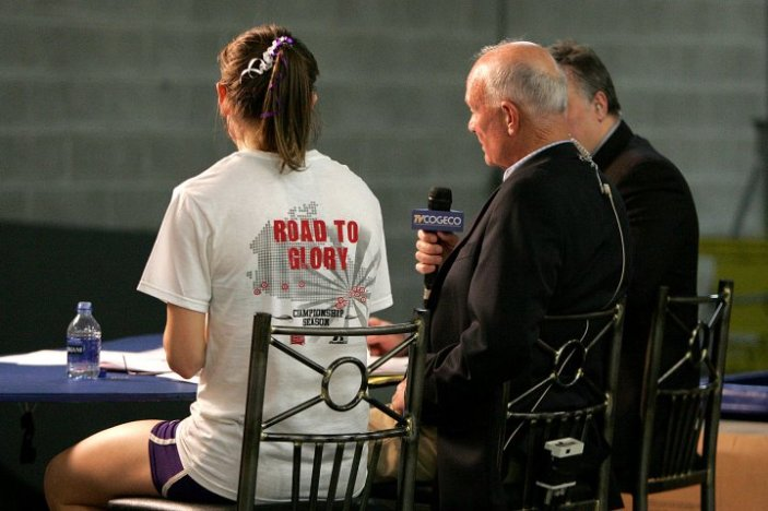 Having a word with Bob Vigars at the 2010 CIS Championships, Windsor