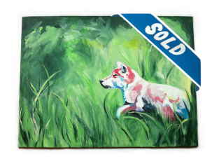 SOLD - QUESTING $250, acrylic on canvas panel, 41cm x 30cm - In the midst of looking for something it may seem that the looking is all there is. Yet everything is temporary. You'll find what you're looking for.