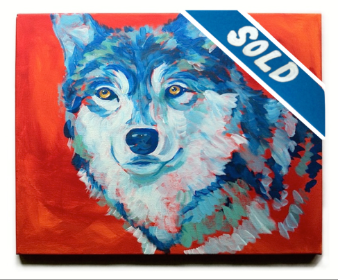 SOLD - LISTEN TO YOUR HEART $400, acrylic on stretched canvas, 51cm x 40cm - Be yourself and follow your heart. Stand as boldly as a blue wolf in a red background. And smile.