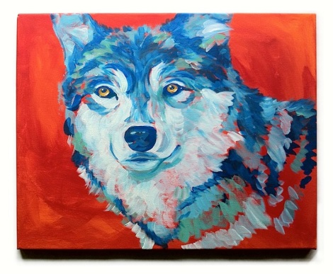 LISTEN TO YOUR HEART $400, acrylic on stretched canvas, 51cm x 40cm - Be yourself and follow your heart. Stand as boldly as a blue wolf in a red background. And smile.