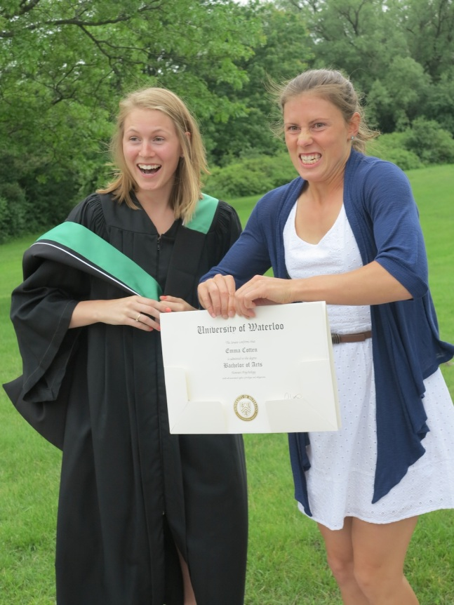 """You leave here today with a gift in your heart and a diploma in your ha - oh...oh boy."" My younger sister Emma and I at her university graduation (2013)"