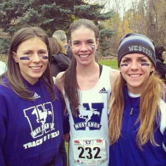 Caroline and I grabbing a pic with our fantastic roomie Amanda Truelove after her 6th place finish at the 2013 CIS Cross Country Championships